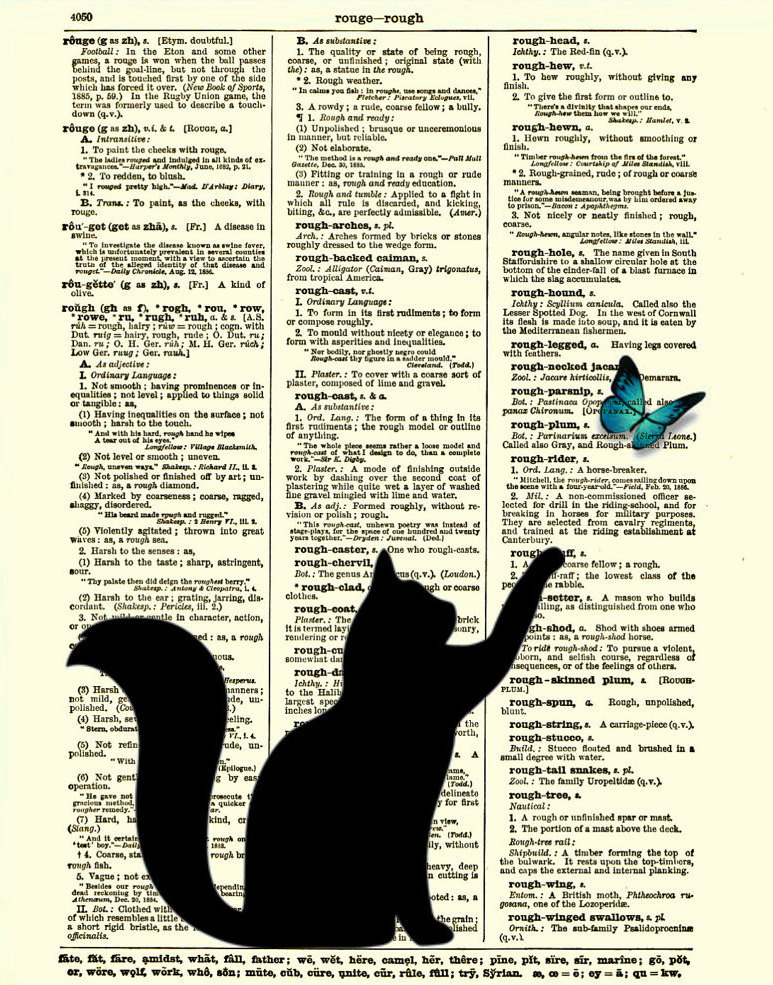 Black cat silhouette with blue butterfly dictionary art print dictionary print dictionary page 123 842864e0 8d95 4ac6 b28c 7d559bcabe88 original