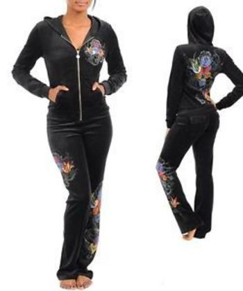 M94 -S/Small- BLACK Stretchy,Velour,Tattoo Print,Rhinestones JOGGING SUIT