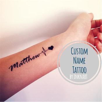 Custom EKG Heartbeat Name temporary tattoo Pulse Heart Rate personalized gift - InknArt Temporary Tattoo - fake tattoo wedding