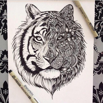 Black and White Tiger Art by Leiartista - in A.w.N. for Earth