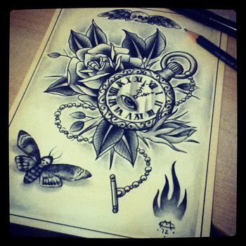 Pocket watch, rose and moth tattoo design/drawing by Mr Curtis at tribalbodyart.co.uk