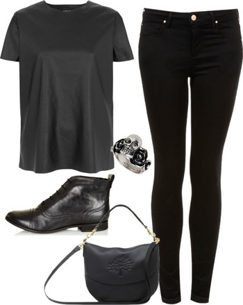 """inspired all black outfit"" by hayleycarbran ❤ liked on Polyvore"