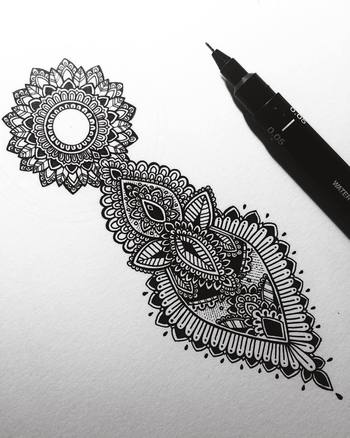 "Asmahan A.B. Mosleh on Instagram: ""Started this tiny commission today. #murderandrose // #henna inspired detailing with #mandala incorporated. """