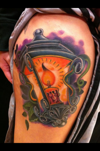 Awesome Burning Candle Lamp Tattoo Design : New Tattoo Styles