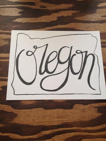 Hand drawn/lettered OREGON state outline by LettersbyLinds