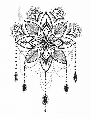 Original Pen and Ink Drawing Mandala Ornate by RobinElizabethArt