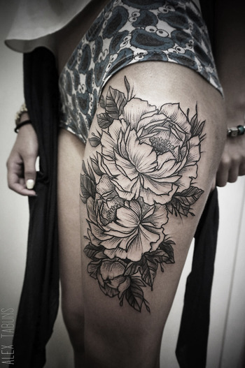 10 Black & Beautiful Peony Tattoos | Tattoodo.com