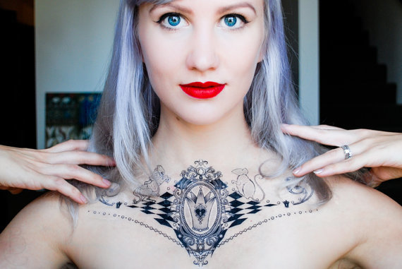 White queen alice in wonderland temporary tattoo original