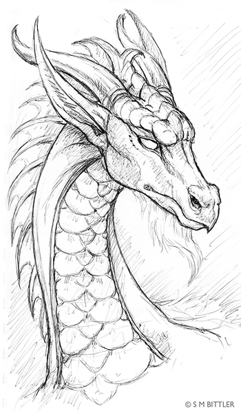Pen Sketchbook: White Dragon at Elfwood.com