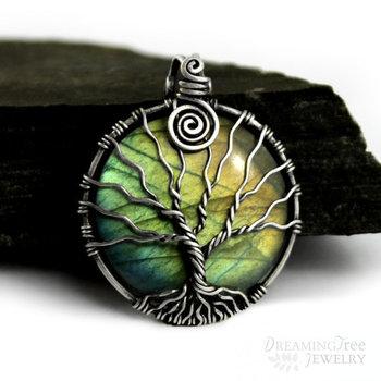 Rainbow Labradorite Tree of life pendant Sterling silver