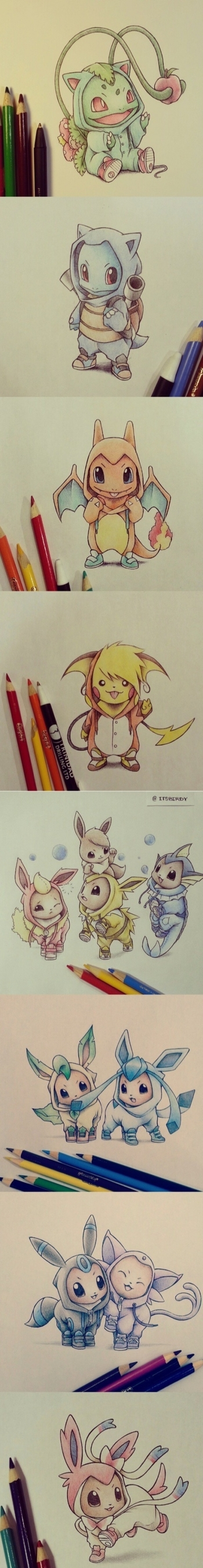 itsbirdy on Instagram--Pokemon in onsies of their evolved forms