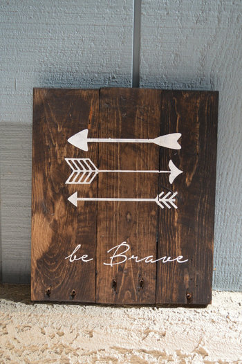 Single - Reclaimed Wood Planked Art - Rustic Nursery / Woodland - be Brave - have Courage - Explore -