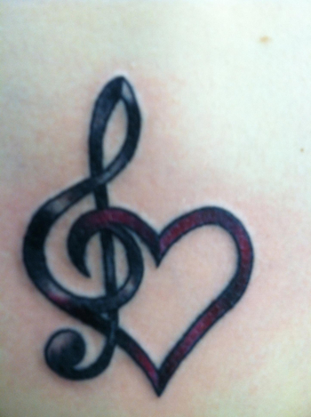 This was my first tattoo, music has always been my life. I had picked out a design and when I went to