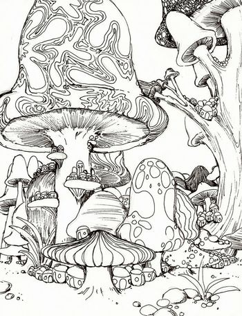 Gallery For > Psychedelic Mushroom Coloring Pages