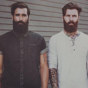 Luke Ditella & Levi Stocke - thick black beard and mustache dark red beard beards bearded man men men
