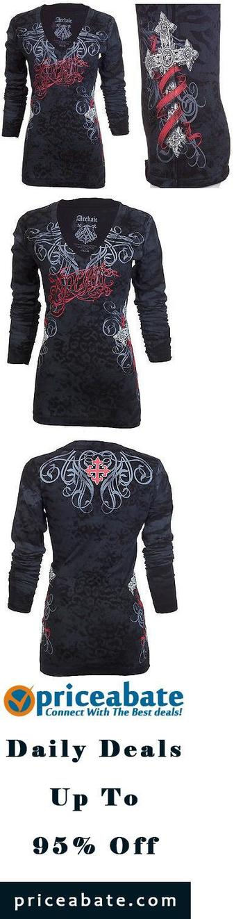 #priceabatedeals Archaic AFFLICTION Women LS T-Shirt BLACK SHEEP Tattoo Biker UFC Sinful M-XL $58 - B