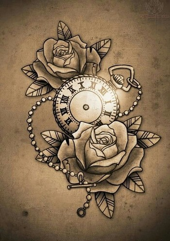 Pocket watch with roses