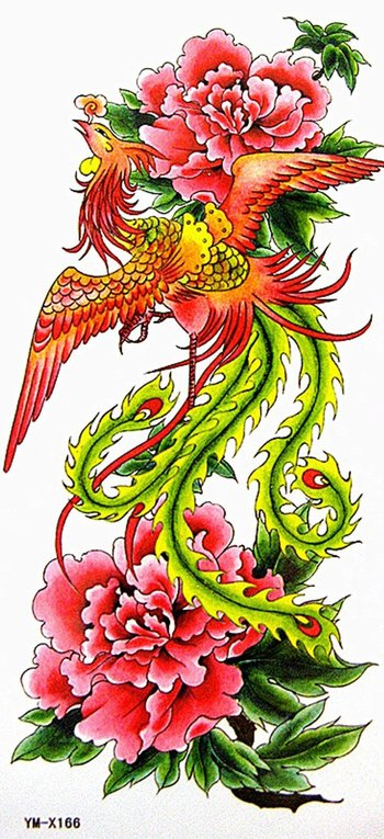Yimei Temporary Tattoo for Women Sexy Waterproof Boday Sticker (Noble Colorful Fire Phoenix and Blazi