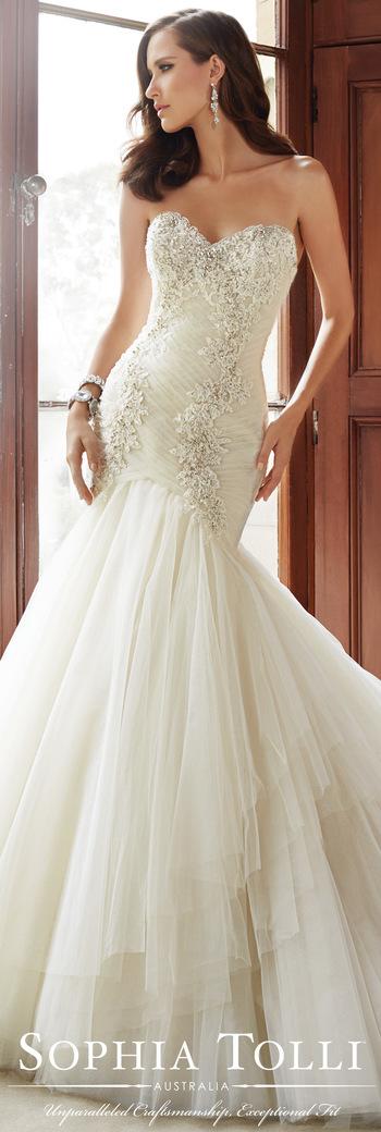 The Sophia Tolli Fall 2015 Wedding Dress Collection - Style No. Y21514 sophiatolli.com #laceweddingdr