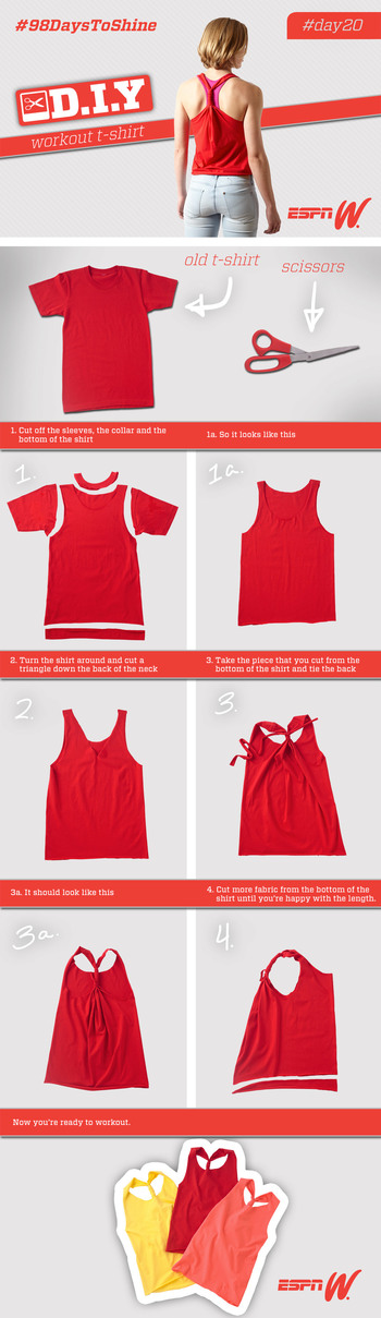 Learn how to turn an old t-shirt into the perfect workout top. Visit www.espnW.com/98days/DIY for a s