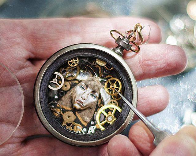 Steampunk watch part sculptures by sue beatrice original
