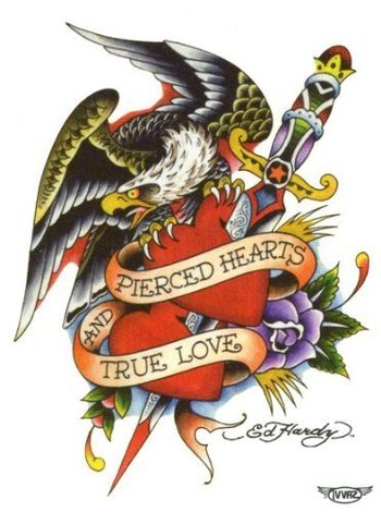 "Ed Hardy Eagle - Pierced Hearts & True Love Temporary Body Art Tattoos 3"" x 4"" Ed Hardy,http://www.am"