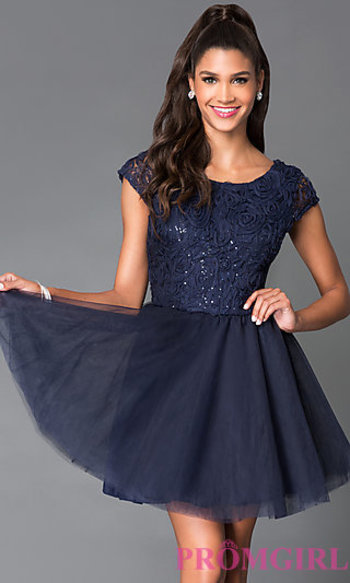 Cap Sleeve Dress 1954 with Lace Bodice at PromGirl.com