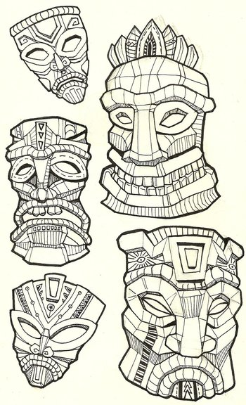 Tiki Masks by NajMeTender on deviantART