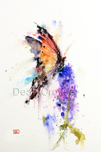 BUTTERFLY & FLOWER Watercolor Print by Dean
