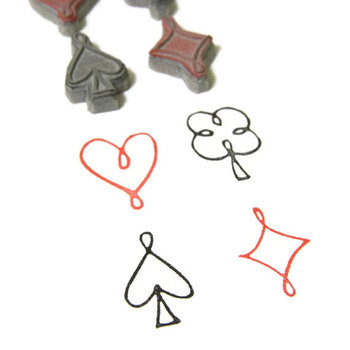 Playing Card Symbols Stamp Set - Heart Clover Spade Diamond Cling Rubber Stamp Set by Creatiate on Et
