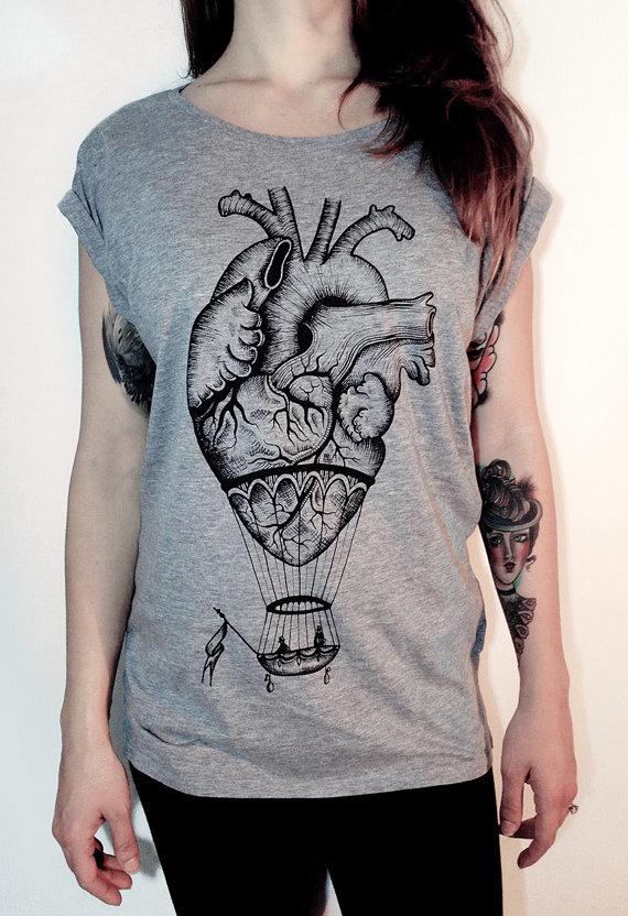 Ladies t shirt with hot air balloon anatomical heart print 4245b329 3de5 4021 bdef f353e08ad469 original