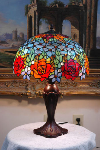 """16""""W Roses Peony Tiffany Style Stained Glass Jeweled Table Desk Lamp, Zinc Base from ebay seller TMI"""