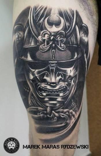 15 Ornate Samurai Helmet Tattoos | Tattoodo.com