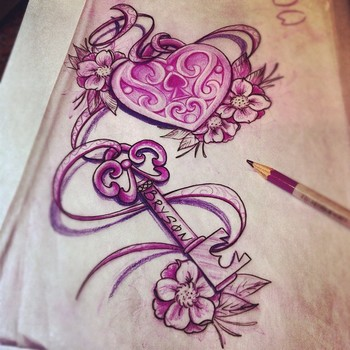heart locket and key tattoo http://pinterest.com/treypeezy http://twitter.com/TreyPeezy http://instagram.com/OceanviewBLVD http://OceanviewBLVD.com
