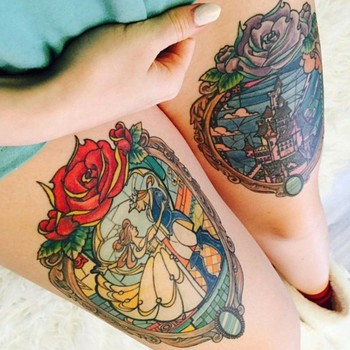 """Welcome to Disney Tatts :) on Instagram: """"Done on @tabeaschrgx beautiful pieces.  #disneytattoo #disneytattoos #disneytatts #disney #beautyandthebeast #dcp #wdw"""""""