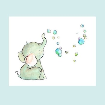 Every print is cuter than the next. Elephant Bubbles 8x10 -- Art Print. $20.00, via Etsy trafalgarssq