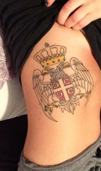 Serbian Crest tattoo on ribcage!! #srbija I wonder if Deda would be happy or mad if i got this