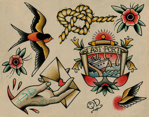 Nautical tattoo flash by parlortattooprints on etsy 18 99 original