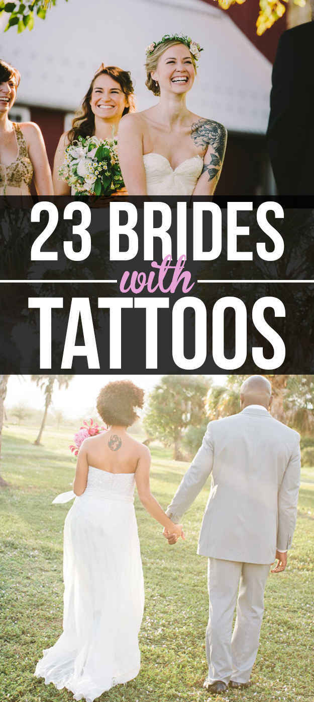 23 beautiful brides who showed off their tattoos with pride original