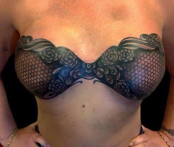 Madison Loftis - Finished this freehand lace bra tattoo on...
