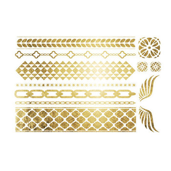 Gold Temporary Tattoo Bracelets and Wings Metallic by LetsGoGold, $18.95