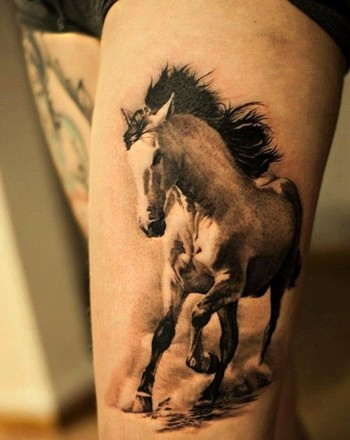 Lovely running horse tattoo on thigh - Horse  Tattoos