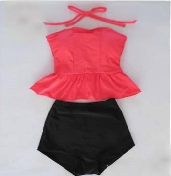 Monokinisuits.com |   High Waisted Peplum Tankini Neon Pink/Black