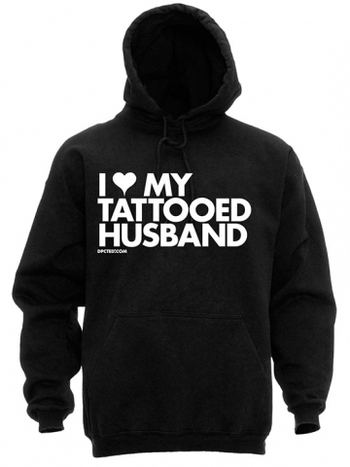 "Unisex ""I Heart My Tattooed Husband"" Hoodie by Dpcted Apparel (Black)"