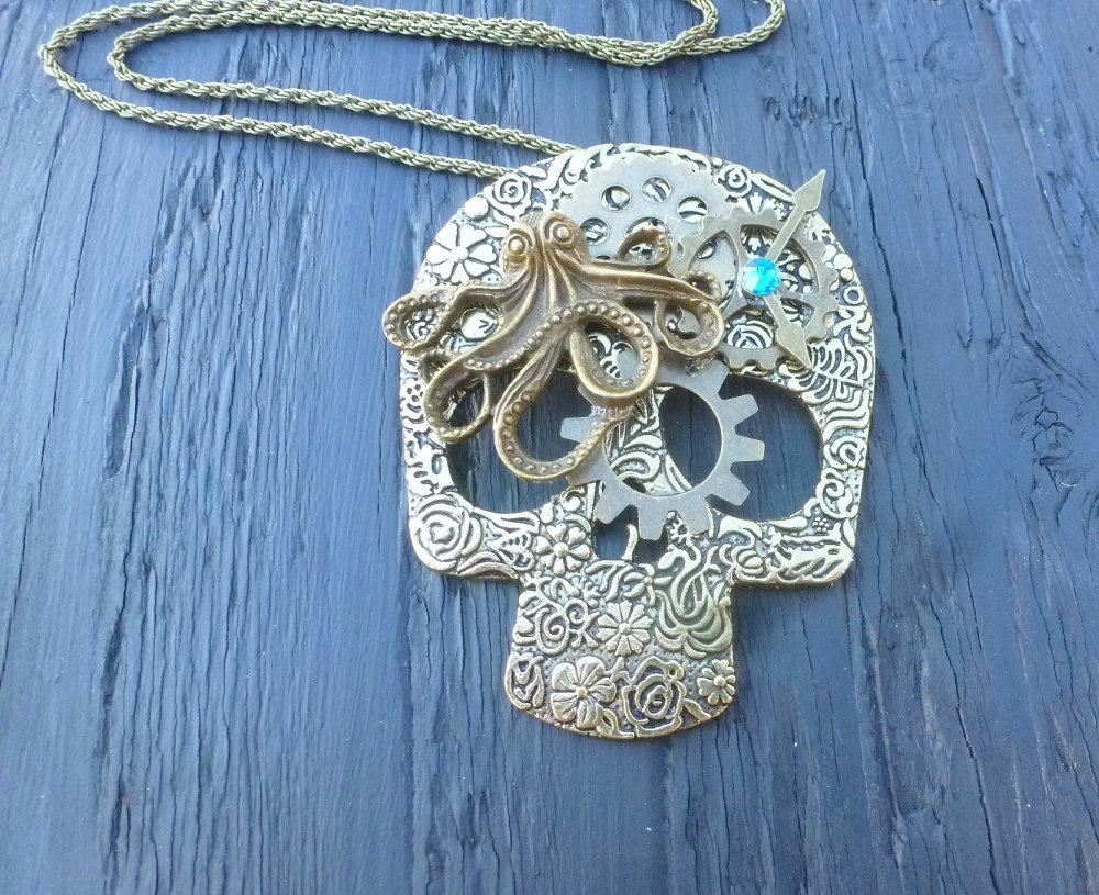 Steampunk skull necklace bronze octopus skull watch gears tattoo skull industrial jewellery original