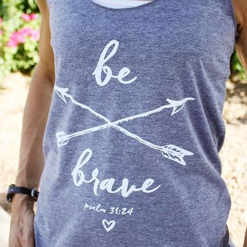 Inspired by Psalm 31:24, this ultra-soft Christian tshirt for women is stylish, fashionable and comfy