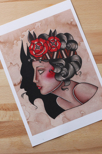 Pin Up devil traditional tattoo print. A4 size.