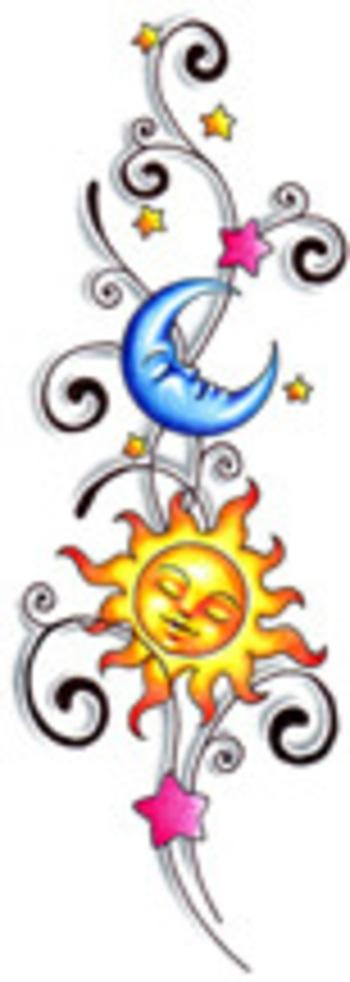 Suns Moon Tattoo Design at BullseyeTattoos.com