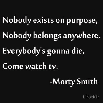 Nobody exists on purpose, Nobody belongs anywhere, Everybody's gonna die, Come watch tv. by LinuxKllr