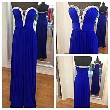 2015 Royal Blue Beading Prom Dress..